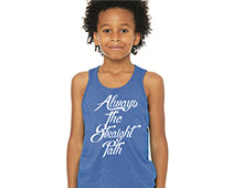 Girl in Blue Tank Top with Logo