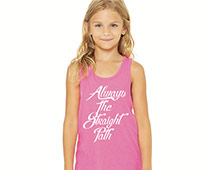 Girl in Pink Tank Top with Logo