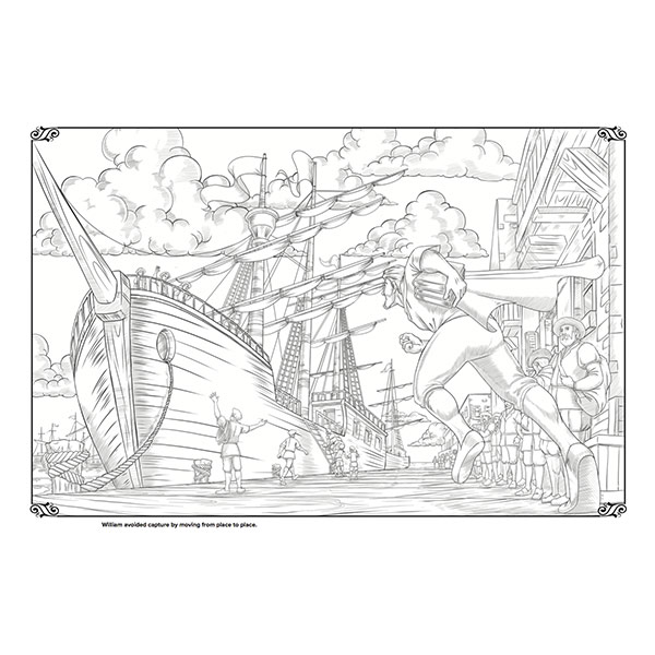 Black & white illustration of boat with masts