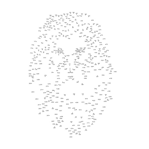 Complete the dots puzzle in the shape of a lion's head